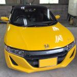 自動車ガラス交換、ホンダ S660 フロントガラス交換(国産社外ガラス)施工で入庫。